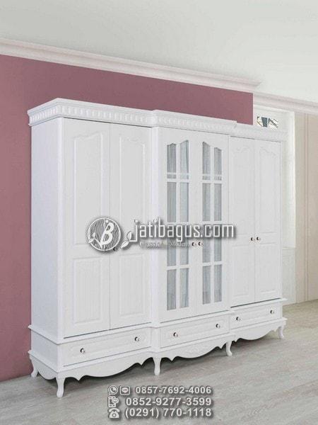 Set Tempat Tidur Modern Ukir Duco Putih