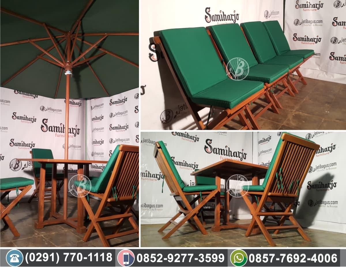 Kursi Meja Kayu Untuk Taman + Payung