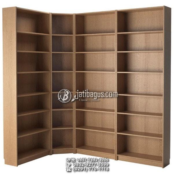 lemari rak buku minimalis jati