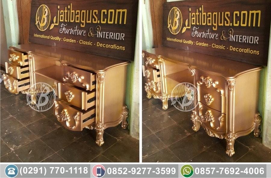meja rias ukir emas