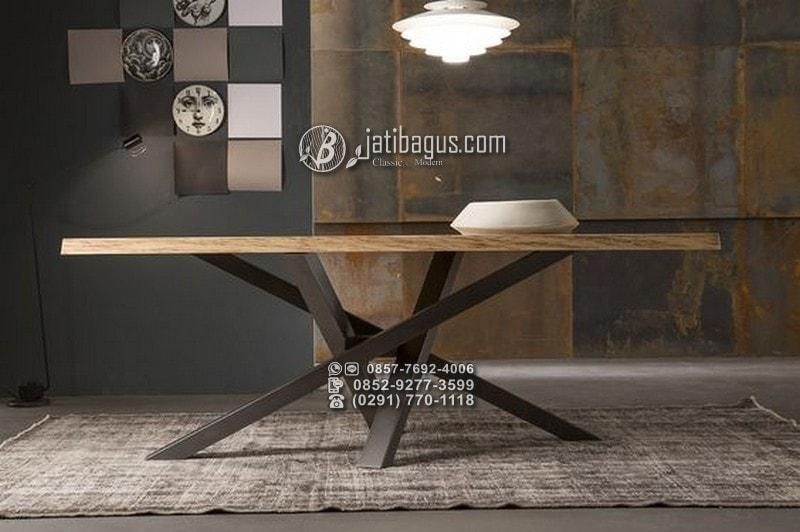 set meja makan minimalis jati jok busa