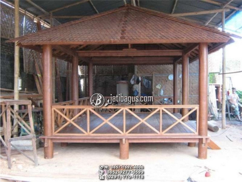 jual gazebo minimalis glugu kayu kelapa