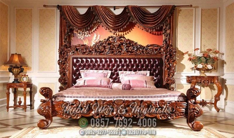 desain set tempat tidur ukir kayu jati asli