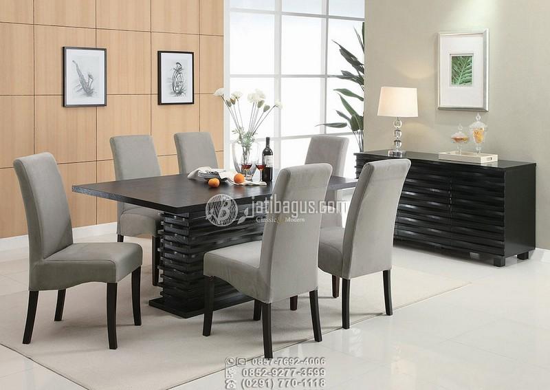 set meja makan minimalis hitam abu grey