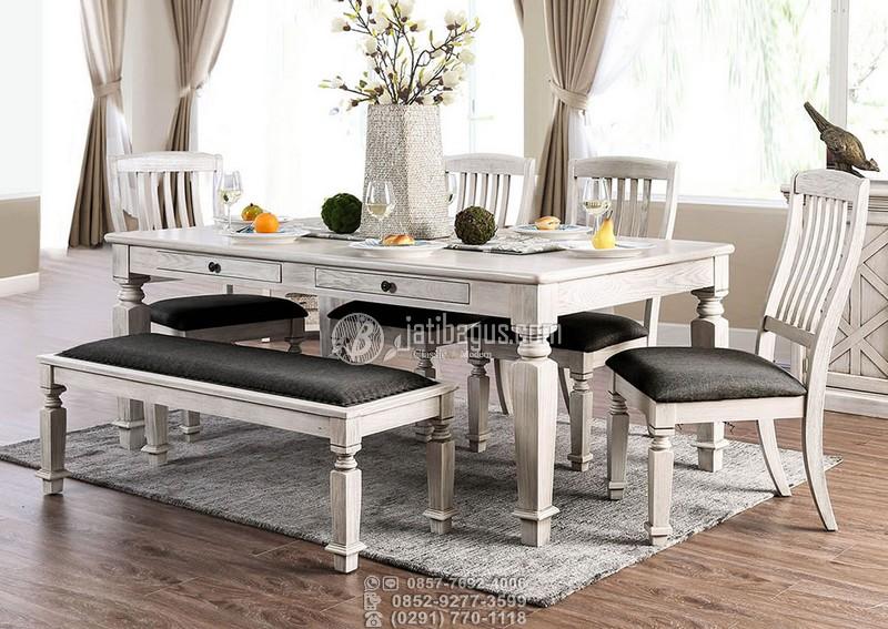 set meja makan minimalis putih abu grey