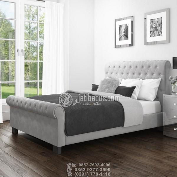 tempat tidur minimalis hitam abu grey
